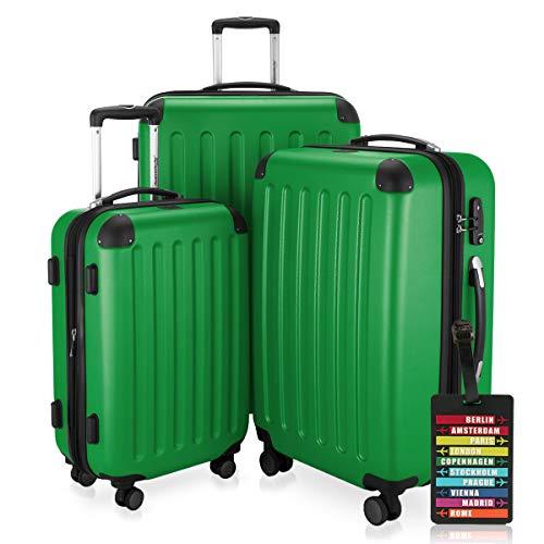 HAUPTSTADTKOFFER - Spree - 3er Koffer-Set + Kofferanhänger - Handgepäck 55 cm, mittelgroßer Koffer 65 cm, großer Reisekoffer 75 cm, TSA, 4 Rollen, Grün