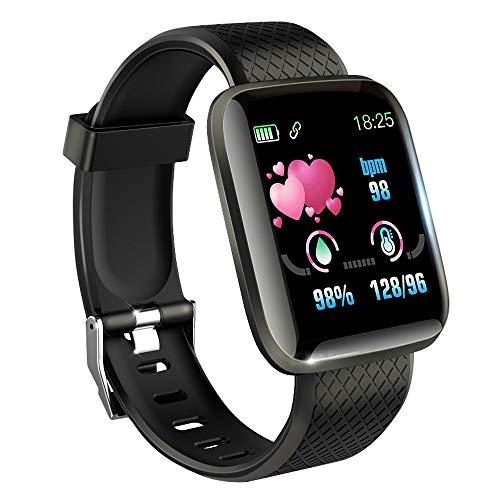 KawKaw Smartwatch mit Pulsmesser & Schrittzähler für Damen und Herren - Integrierter Kalorienzähler & Activity Tracker Blutdruckmesser - Smart Watch Armband Uhr für Sport und Fitness (Schwarz)