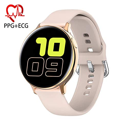 Smart Watch, Fitness Tracker with E.C.G Blood Pressure Heart Rate Sleep Monitor Pedometer Bracelet Inteligente Reminder Stopwatch Smartwatch with iOS Android Phone Best Gift for Men Women (Pink)