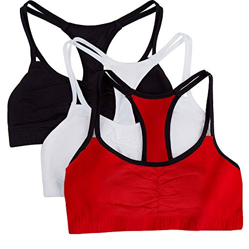 Fruit of the Loom Women's Spaghetti Strap Cotton Pullover Sports Bra, Red Hot with Black/White/Black Hue, 42