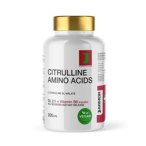 Citrullina Malato Integratore Pillole + Vitamina B6   200 Capsule   Aminoacido Puro Per Massa Muscolare Vigore fisico e mentale   Precursore dell' Arginina   booster Azione Duratura e Immediata Vegan