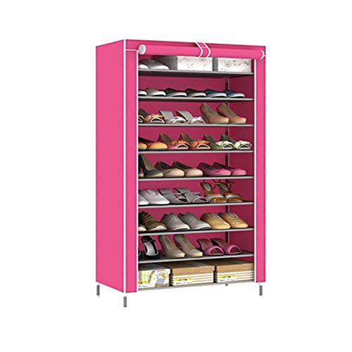 ZTMN Schuhregale 10 Layer 9 Grid Einfache multifunktionale Aufbewahrung Schuhschrank Vlies staubdichte Aufbewahrung, Pink