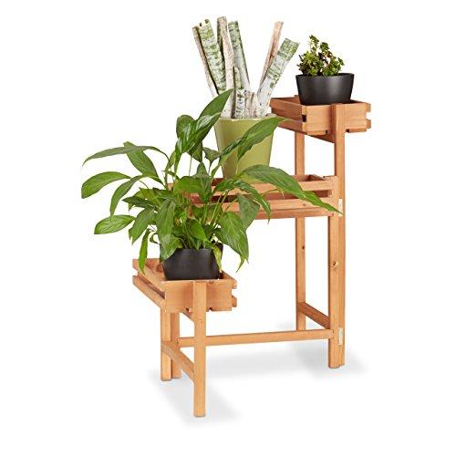 Relaxdays, Blumenetagere, beweglich, für Kräuter, Blumentöpfe, Holz Pflanzregal 57 cm hoch, Natur Blumentreppe 3-stöckig