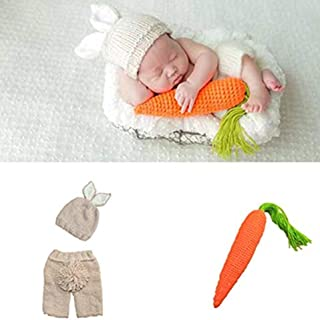 Buyinsoon Newborn Baby Girl Boy Knit Clothes Photo Crochet Costume Photography Prop Outfit Handmade Costume Hat Cap Unisex...