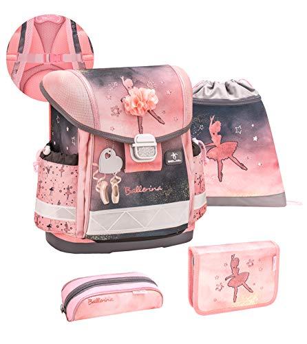 Belmil ergonomischer Schulranzen Set 4-teilig mit Brustgurt/Mädchen 1. klasse 2. klasse 3. klasse - Super Leicht 860-950 g/Hase/Rosa Grau Schwarz (403-13/S/C Ballerina Black and Pink)