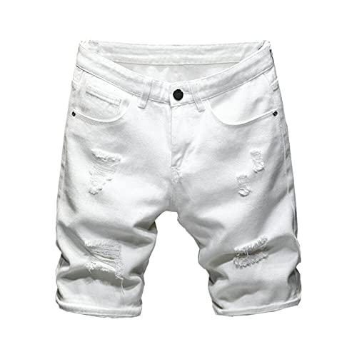 Nuevo Verano Blanco Negro Hombres Pantalones Cortos De Mezclilla Delgado De Tamaño Grande Casual Longitud De La