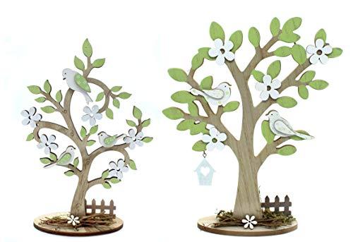DARO DEKO Holz Figur Baum mit Vögeln 2 Stück - klein und groß