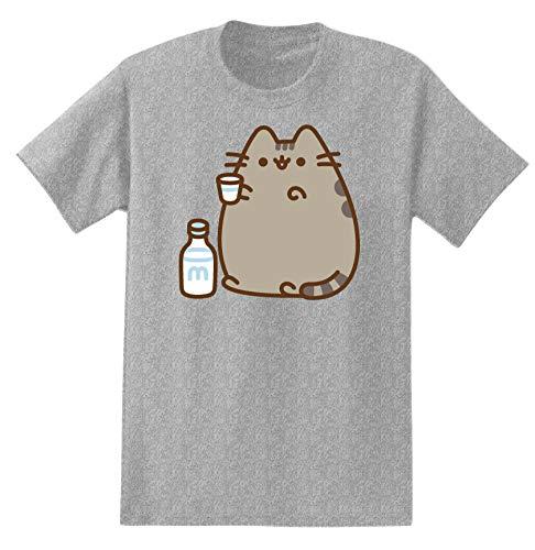 Pusheen Mens The Cat Shirt The Cat Vintage T-Shirt (Heather Grey, Small)