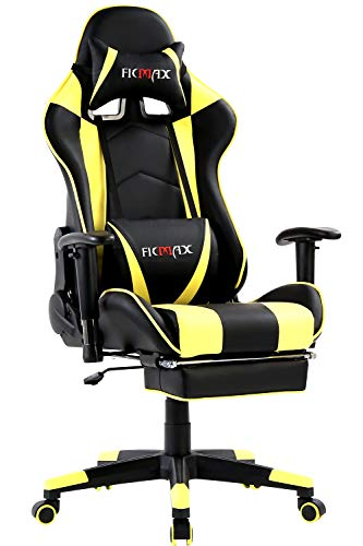 Ficmax Massage Gaming Chair Reclining Computer Gaming Chair with Footrest Height Adjustable Gamer Chair with Armrest High Back Gaming Desk Chair with Headrest Pillow and Lumbar Support(Black/Yellow) black chair gaming