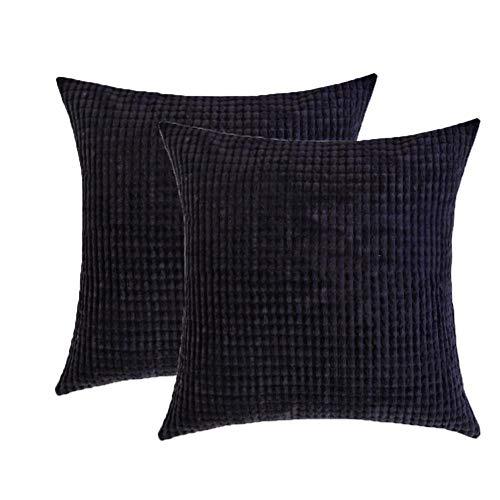 Toruiwa - 2 fundas de cojín (40 x 40 cm, terciopelo, decorativas, funda de almohada para decoración del hogar, dormitorio, salón, oficina, color beige 40 x 40 cm), Negro , 60 x 60 cm