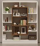 VENUS Libreria - Scaffale per libri - Scaffale per ufficio / soggiorno dal design moderno (Bianco / Noce)