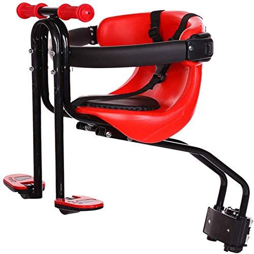 Porte-Vélo/Siège De Vélo Monté sur Vélo De Luxe pour Enfants, Tout-Petits Et Enfants Chair Siège Avant De Vélo pour Enfant Adapté Aux Selles De Vélo pour Bébé De 0 À 4 Ans,Rouge