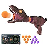 MOLOVIT Trex Dinosaur Toy Gun for Kids with Lights and Roaring Sounds, Power Popper Gun with 12 Foam Balls, Dinosaur Shooting Game Toy, Dinosaur Toys for Kids Age 3 4 5 6 7 8 (Brown)