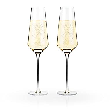 Raye Crystal Champagne Flutes by Viski – (8 oz., Set of 2) Rosé, Prosecco glasses