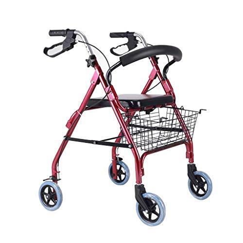 Andador y Silla de Ruedas para minusvalidos, Ancianos, Adultos o Mayores, 2 en 1, de Aluminio, Ligero, Plegable, con Asiento y 4 Ruedas