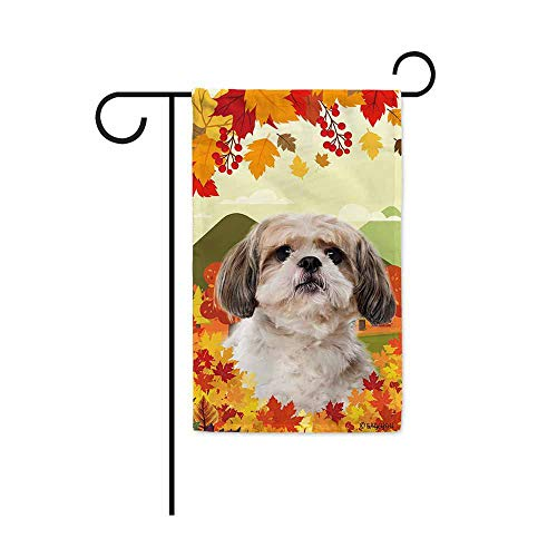 BAGEYOU Hello Fall in The Countryside with My Love Dog Shih Tzu Decorative Garden Flag Autumn Maple Leaf Banner for Outside 12.5X18 Inch Printed Double Sided
