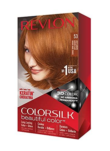 Revlon Colorsilk Beautiful Color Coloration Permanente des Cheveux avec Technologie au Gel 3D et Kératine, Teinture avec Couvrance à 100 % des Cheveux Blancs, 53 Auburn clair