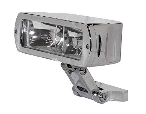 AMAS The Best AM.2687 Faro anteriore moto in metallo cromato OMOLOGATO'BIG HAMMER' lavorazione CNC - 12 volt completo n° 2 lampade alogene H3 (vetro trasparente)