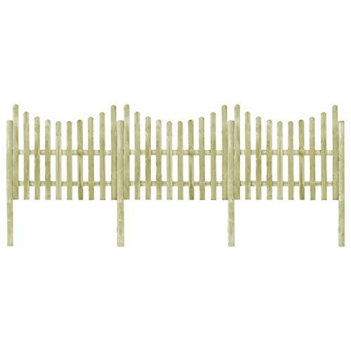 vidaXL Kiefer Imprägniert Gartenzaun 4 Pfosten 510x150 cm Lattenzaun Holz Zaun