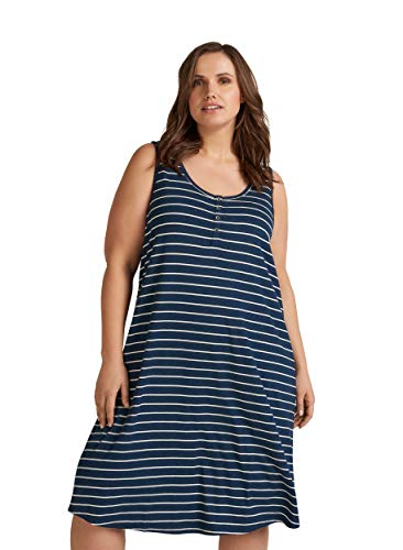 Zizzi Damen Große Größen Kleid aus Viskose mit Rundhalsausschnitt -Blau-46-48
