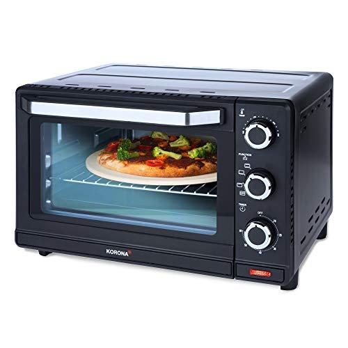 Korona 57156 multifunctionele toastoven, zwart/roestvrij staal, 24 liter, kleine pizzaoven, compacte oven, mini grilloven, grillrooster, bakplaat emaillie, pizzasteen 1500, 24 liter