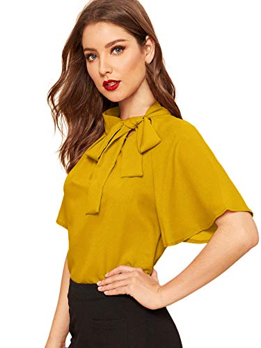 SheIn Women's Casual Side Bow Tie Neck Short Sleeve Blouse Shirt Top Medium Ginger