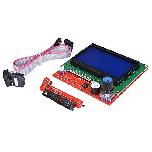 ZHITING 12864 Placa controladora de Pantalla Inteligente gráfica LCD con Adaptador y Cable para Impresora 3D RAMPAS 1.4 Impresora 3D RepRap Mendel Prusa Arduino