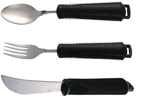 Easy Grip Biegbares Besteck-Set in Rot, mit großem Griff, Messer, Gabel, Löffel. Schwarz