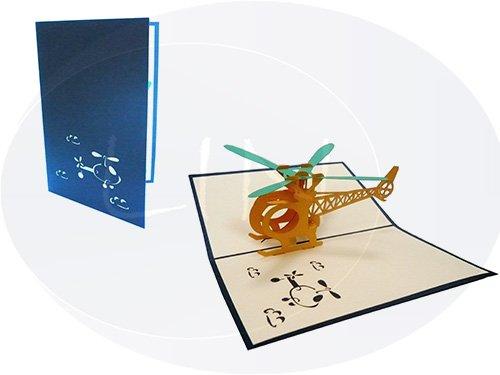 LIN ArtDesign / LIN POP UP Karten POP UP 3D Architektur Transport Grußkarten Gutschein Sammelkarte Modellhubschrauber Hubschrauber, N148