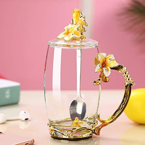 VYEKL Bunte Tasse Teetasse zu Hause hitzebeständige Glas Teetasse Tasse 350ml 2 Packungen