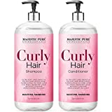Majestic Pure Curly Hair Shampoo and Conditioner Set, for Soft & Smooth Hair - Defrizz and Moisturize - Gentle & Clarifying with Argan and Coconut Oil - Sulfate Free for Men and Women - 16 fl oz each