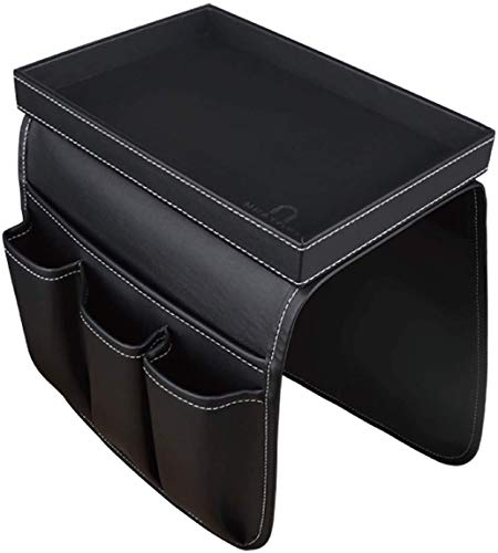 U NEATOPA Couch Remote Control Holder Sofa Synthetic Leather Organizer with Detachable Tray for Recliner Mattresses Chair Armrests with 4 Slots - 1 Large Pockets and 3 Small Pockets (Black)