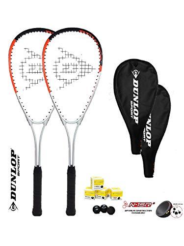 DUNLOP Juego de 2 raquetas Ti Squash Series (2 raquetas + 3...