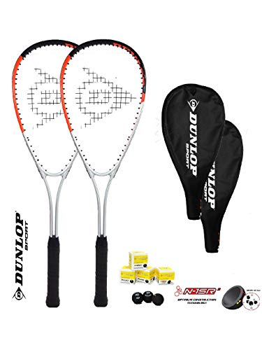Dunlop Ti Series Squashschläger (Verschiedene Optionen) (2 x Squashschläger + 3 Squashbälle Hyper TI)