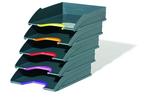 Durable 770557 Briefablage A4 (Varicolor) Ablagesystem mit 5 Fächern (anthrazit mit farbigen Griffzonen)