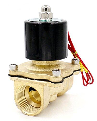 Woljay Magnetventil 1 Zoll DC 24V Wasser Luft Gas (Normal Geschlossen) Ersatz Messing Ventil