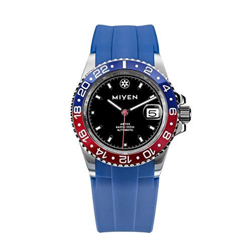 MIYEN MUNICH - Abyss BlueRed Kautschukarmband Blue 1040-145-4 Automatik Herren Uhr Saphirglas Keramik 20ATM