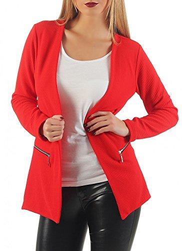 Damen lang Blazer mit Taschen (501), Farbe:Rot, Blazer 1:36 / S