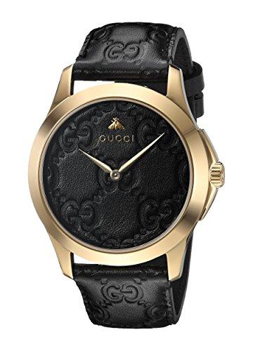 Gucci Unisex Erwachsene Datum klassisch Quarz Uhr mit Leder Armband YA1264034