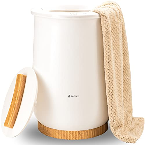 Keenray Calentadores de Toallas Estilo Cubo 20 l, Calentador de Toallas termostático, Apagado automático, se Adapta a Dos Albornoces de Gran tamaño de 40 x 70 Pulgadas, Pijamas, Color Blanco