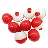 50pcs/lot Hard ABS Fishing Bobbers Set Snap on Red/White Float Bobbers Push Button Round Buoy Floats Fishing Tackle Accessories Size:0.5/0.75/1/1.25/1.5/1.75/2 Inch (1inch-10pcs)