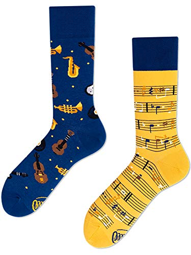 Many Mornings unisex Socken Music Notes (Blau, Gelb, 35-38)
