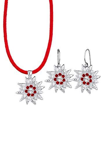 Elli Schmuckset Damen Edelweiss mit Kristalle in 925 Sterling Silber