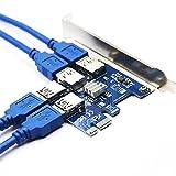 PCI-E a USB Riser Board 1 a 4 adaptador de 4 puertos w/Led Graphics Extension Ethereum ETH Mining Powered Riser Adapter Card sata Power Cable Cable Cable de alimentación sata 15pin-6pin