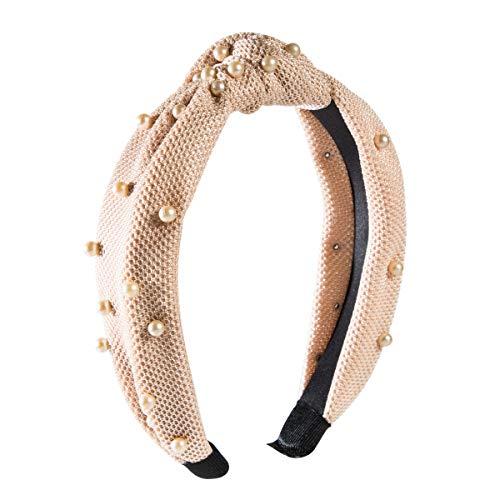 Perles nouées cerceaux de cheveux lavage bandeau bandes de cheveux rétro avec fausse perle coiffure élastique cerceau de cheveux turban pour dames (Beige)