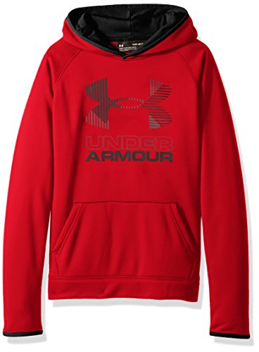 Under Armour Boys' Armour Fleece Solid Big Logo Hoodie, Red /Graphite, Youth X-Large