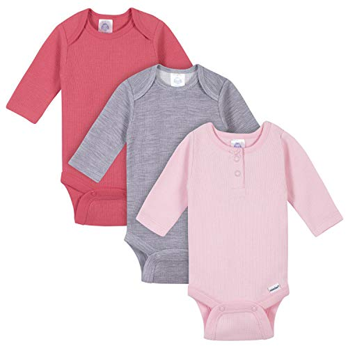 Gerber Baby Girls 3-Pack Long Sleeve Thermal Onesies Bodysuits, Pink/Grey, 12 Months
