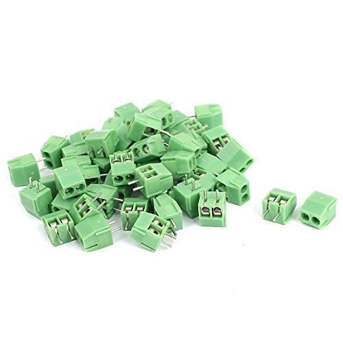 Sourcingmap® 50 PCS 2 Pin Screw Terminal Block 3,5 mm Pitch Panel PCB Mount grün de