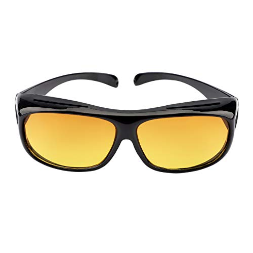 Sicherheits-Überbrille Nachtfahrbrille Unisex Kratzbeständigen Gläsern, Seitenschutz,400 UV-Schutz, HD-Sichtglas,mit Hartschalen-Etui,sturzsicher können auch Wind-, Sand (Gelb)