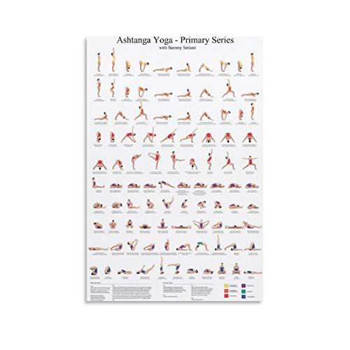 ERTEF Ashtanga Yoga Primary Series Póster de lienzo y arte de pared impresión moderna para decoración de dormitorio familiar 30 x 45 cm
